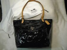 Coach Leah Signature Embossed BLACK Patent Leather Tote /Shoulder Purse F146632