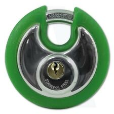 Asec Coloured Discus Padlock Chrome Plated with Green Bumper 2 Keys AS10475