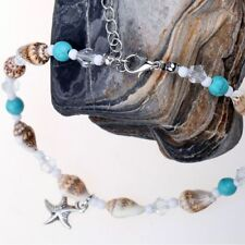 Chain Blue Stones Shell Sea Shell Anklet Crystal Chain Beach Charm Ankle
