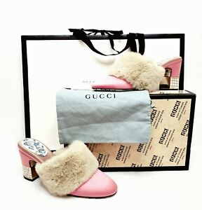 GUCCI Candy Crystal Heel Pink Satin and Faux Fur Mules NIB Size 39