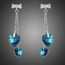 New Sparkly Austria Crystal White Gold Plated Blue Heart Bow Drop Dangle Earring