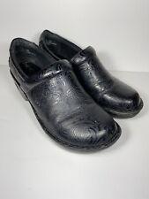 BOC Born Concepts Black Tooled Embossed Leather Clogs Women Comfort Shoes Sz 10M