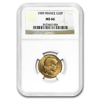 1909 France Gold 20 Francs Rooster MS-66 NGC - SKU#175926