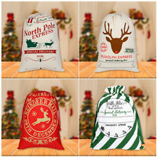 Canvas Christmas Sacks Reusable Drawstring Wrap Present Gift Party Bag Storage