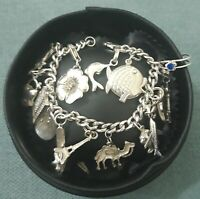 925 Sterling Silver heavy Charm Bracelet with large charms
