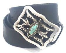 Ralph Lauren  Dark Brown Western Cutout belt W Turquoise Blue Sliver Buckle Sz L