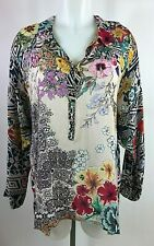 Johnny Was Long Sleeve Multi-Color Floral Print Tunic Blouse Shirt Size S