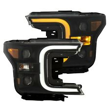 Anzo Projector Plank Style Switchback Headlights Black Amber For 18-19 Ford F150