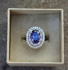 Vintage JTV Oval CZ Blue Sapphire Rhinestone Sterling Silver Ring 925 Sz 8