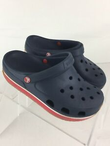 Crocs Shoes Baby Toddler Girl Wedge Navy Blue Red Size 2 (ssmi)