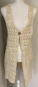 Vintage Crochet Duster Cardigan Size Large Beige Cotton Blend Long One Button