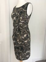 STELLA MORGAN Stretch Wiggle Bodycon Dress Leopard Print Flattering Ruche Size M