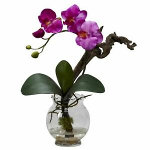 "Luxury Purple Mini Phalaenopsis w/Fluted Vase Faux Silk Flower Arrangement - 15"""