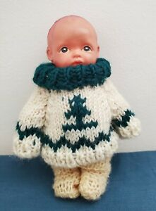 """Vintage Japanese Celluloid Boy Doll 8"""" Strung Arms Frozen Legs Crocheted Outfit"""