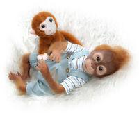 "21"" Handmade Reborn Monkey Soft Silicone Vinyl Flexible Collectible Art Doll"