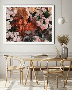 Rustic blooms , Floral  Wall Art Print, Canvas A4,A3,A2,A1,A0, On trend
