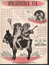 Apalachicola Fla 1947 Bing Crosby Bob Hope The Road to Rio Sheet Music