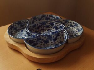 Blue & White Ceramic Serving Dishes On Wooden Tray Nibbles/Dips/Tapas.