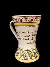 Vintage Devon Torquay Mottoware Double Handled V Cup Beaker Life Was Beauty