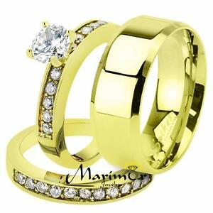 His & Her 1.17Ct Stainless Steel Gold Plated Bridal Ring Set & Mens Wedding Band