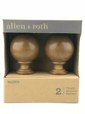 Allen + Roth Pair Decorative Round Wood Finials Curtain Rod Home Decor Tobacco