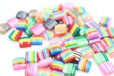100Pcs Stripe Colorful Acrylic Flat Square Flat Spacer Beads No Hole 8x8x3mm