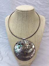 Beautiful Huge Statement Sterling 925 Gemstone MOP Pendant Collar necklace