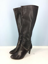 Cole Haan Brown leather Pull On Knee High Boots Stretch 6.5 career high heel