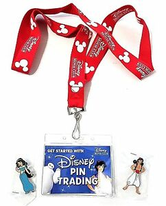 Disney Deluxe VIP Pin Trading Starter Set w/ Aladdin & Jasmine Cloisonne Pin NEW