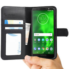 Black Wallet Case Flip Cover w/ Stand for Motorola Moto G6 2018 - by Abacus24-7
