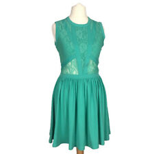 Topshop Petite Green Lace Stretch Fitted Skater Fit Flare Aline Summer Dress 6UK