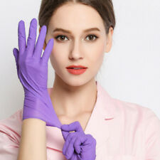 100Pcs Disposable Latex Nitrile Rubber Exam Medical dental gloves Purple L size
