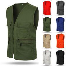 NEW Work Men Multi Pocket Travelers Fishing Photography Director Vest Waistcoats