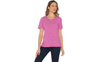 Denim & Co. Striped Round Neck Perfect Jersey Top w/ Lace Trim Pink L A305184