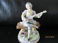 Vintage Victorian Bisque  Playing Guitar Figurine Orion Japan