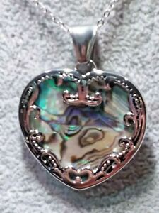 ABALONE SHELL PENDANT NECKLACE 20 IN. STAINLESS STEEL - WT. 13.391G -