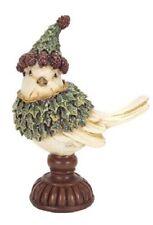 "Melrose 7"" Holly Bird Hat on Pedestal Christmas Figurine Decor"