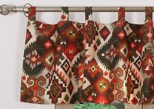 SOUTHWESTERN WINDOW VALANCE : BROWN ORANGE FOLK FESTIVAL CABIN LODGE