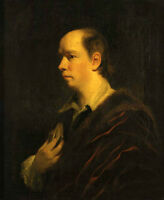 Oil painting Joshua Reynolds Male portrait Oliver Goldsmith holding little book