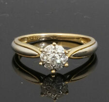 9ct Yellow & White Gold Diamond 0.20cts Cluster Ring (Size L)