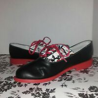 Streetfly Women's Leather Casual Oxford Shoes US Size 7/ EU 38 Black and Red