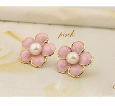 Rosa prugna orecchini fiori a perno w/ perla, anni 60 rétro