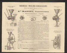 """NEUFCHATEAU (88) CONSTRUCTEUR de MOULINS CONCASSEUR """"A. MANEBY"""" Tarifs 1880"""