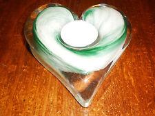 GREEN & WHITE GLASS HEART TEA LIGHT HOLDER