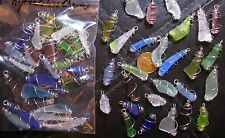 """Lot of 25 Cage Wrapped Charms/ Dangles: Replica """"Sea Glass"""" (Art/ Craft Glass)"""