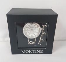 Montine Ladies Black Fabric Silver Coloured Jewellery Set Gem Watch Bracelet J14