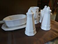 PFALTZGRAFF HERITAGE White SALT & PEPPER, CREAMER & SUGAR  BOWL GRAVY BOAT