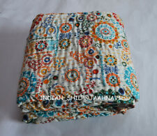 100% Cotton Queen Size Bed Cover Indian Bedding Kantha Quilt Bedspread Coverlet