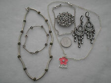 COSTUME JEWELLERY MIXED LOT NECKLACE PENDANT'FRIENDS' BROACH EARRINGS