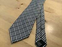 BEN SHERMAN TIE 100% SILK RARE WHITE BLK CHECK PATTERN